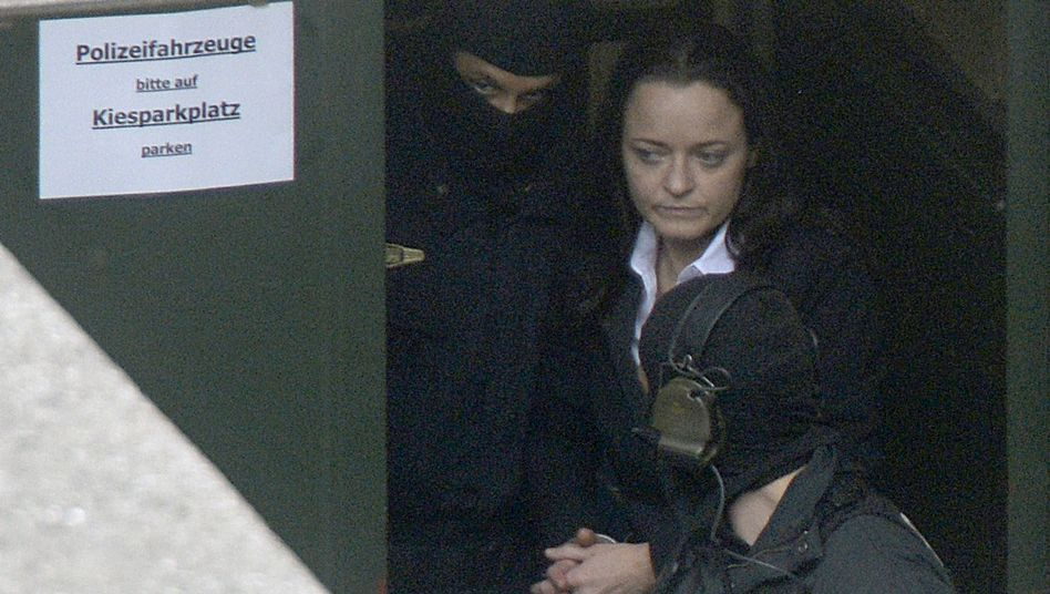 Beate Zschäpe leaving court on Monday after the trial was adjourned.