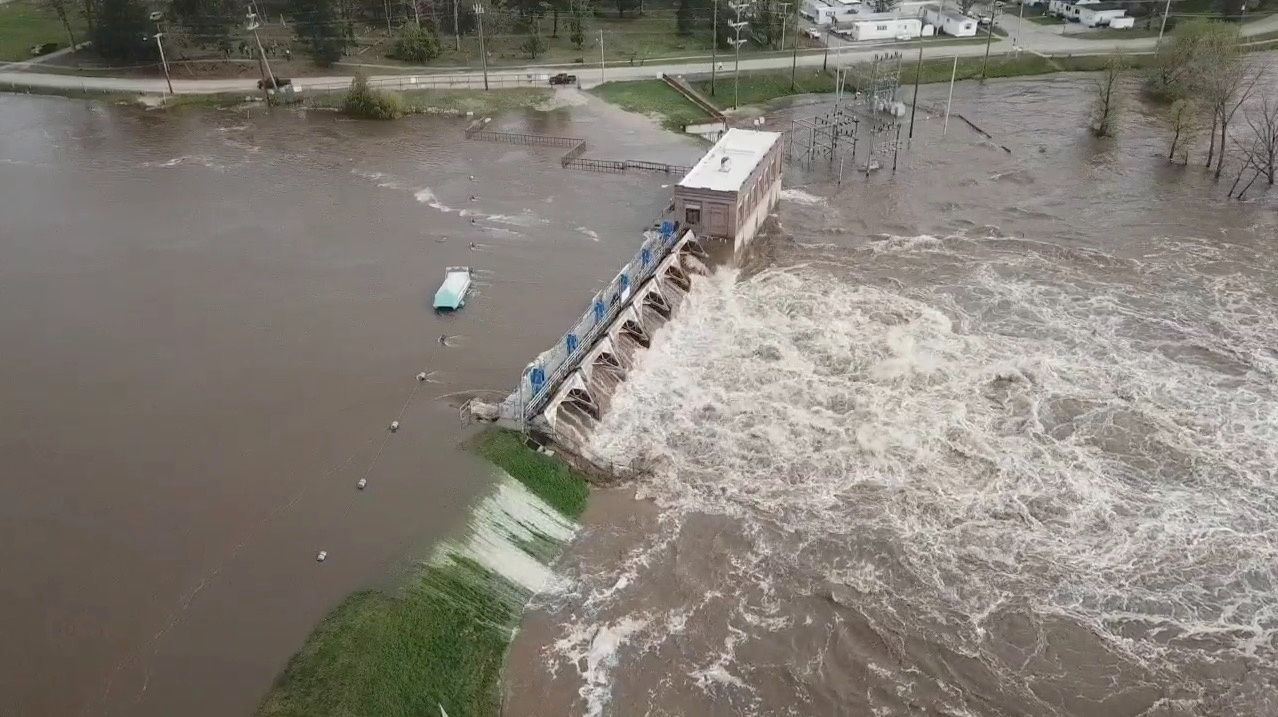 An aerial view of flooding as water overruns Sanford Dam, Michigan, U.S. in this May 19, 2020 still frame obtained from social media video