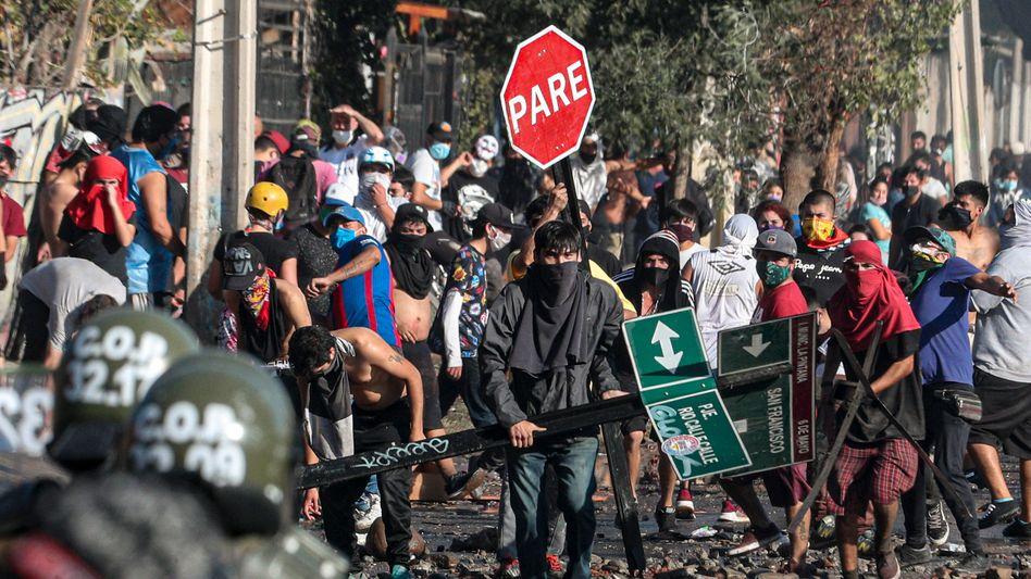 Demonstranten in Santiago de Chile