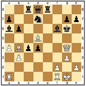 Zug 21, weiß: Dg4+. Das ist der einzige sinnvolle Angriffszug.