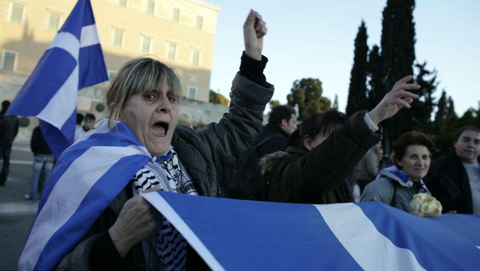 Protest in Athen: Mittlerweile mehr Arbeitslose als Erwerbstätige