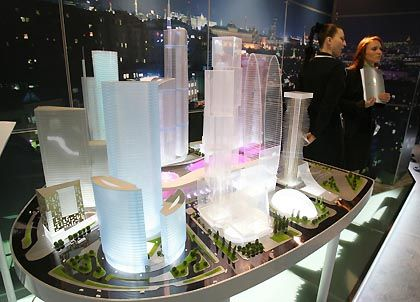 A model of a new mall in Moscow. Land is at a premium in the Russian capital, and businessmen are increasingly using very hostile methods to grab land to make a killing.