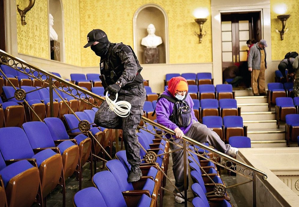 "The ""zip tie guy"" inside the Senate. He was identified from images posted online."