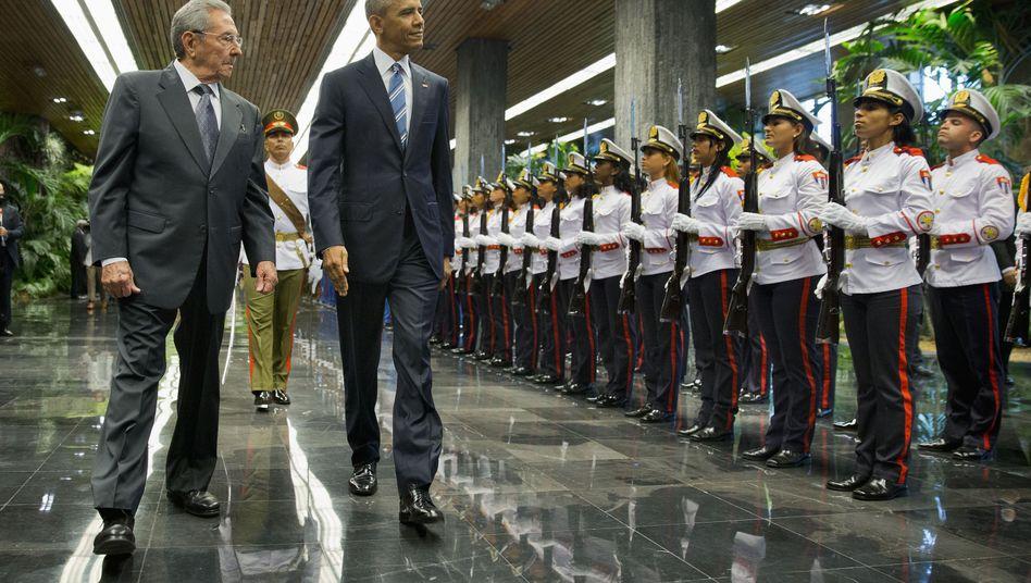 Raúl Castro, Barack Obama in Havanna