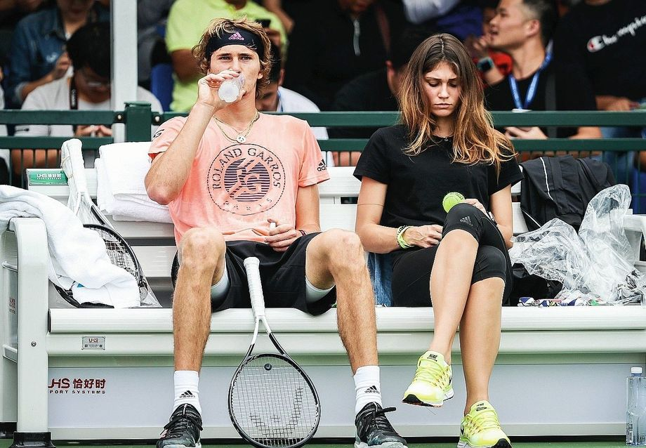 Zverev together with this then-girlfriend Olga Sharypova in 2018