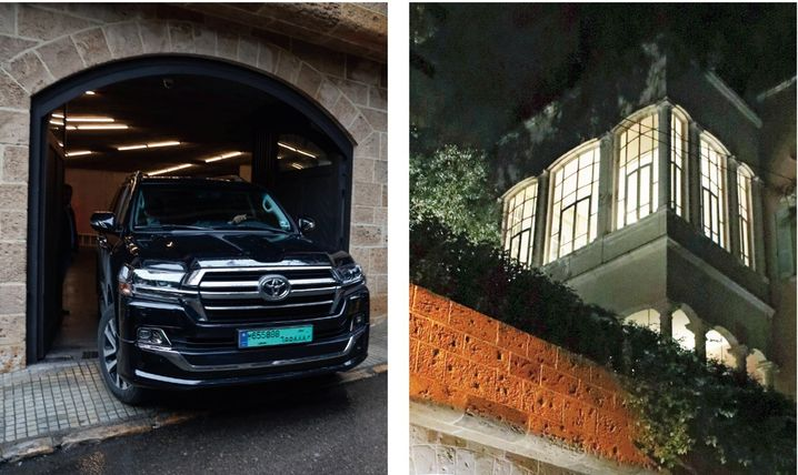 Refuge in Beirut: Ghosn's car as he makes his way to a press conference; Ghosn's mansion in the city's well-heeled Achrafieh district