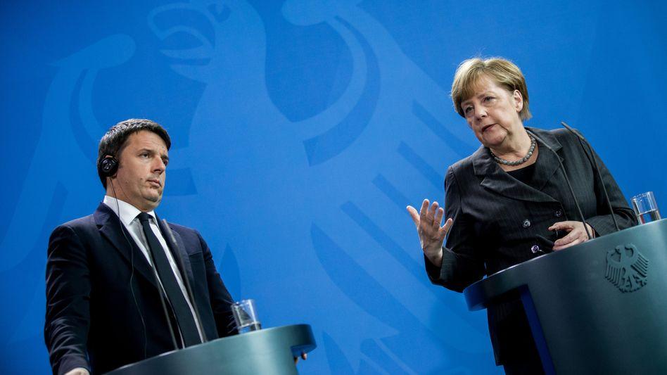 Renzi und Merkel in Berlin: Bemühungen um Einigkeit