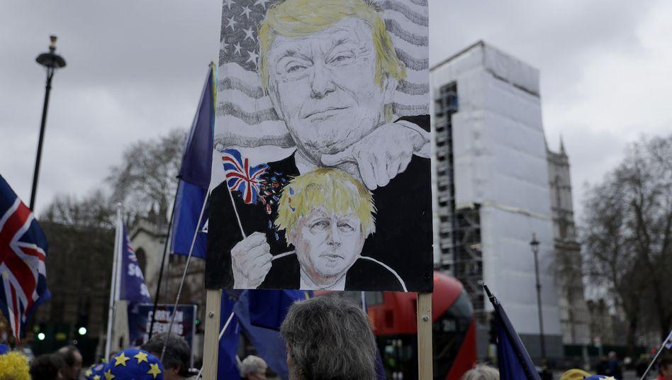 Donald Trump und sein Adept Boris Johnson (unten) auf einem Plakat von Anti-Brexit-Demonstranten in London