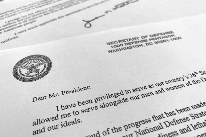 Ein Teil des Rücktrittsschreibens von Verteidigungsminister James Mattis an Präsident Trump