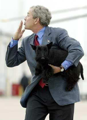 """Bush in Crawford (mit Hund """"Barney""""): Den Ernst der Lage nicht begriffen"""