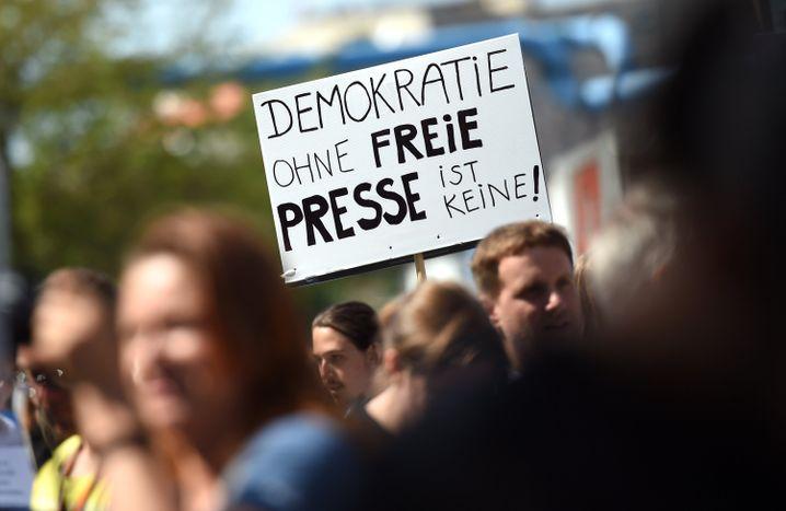Unterstützer von Netzpolitik.org (Archivbild 2015)