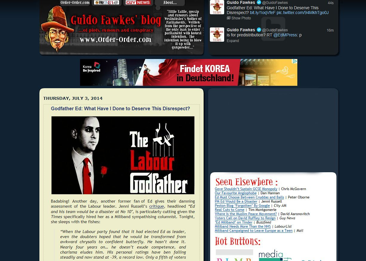 Screenshot Guido Fawkes / www.order-order.com