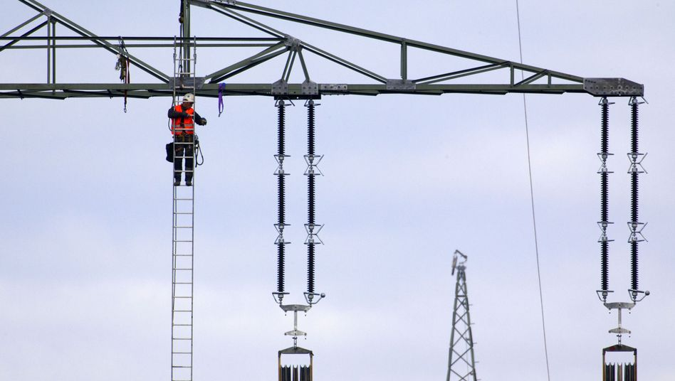 A worker helps with the construction of a high-voltage power line in northern Germany.
