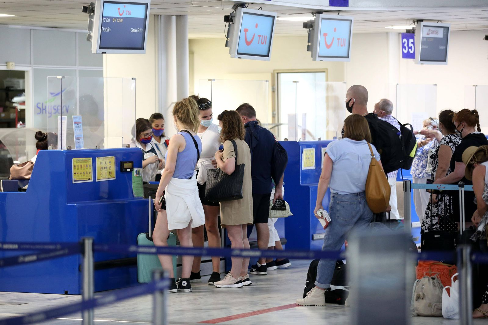 September 8, 2020, Heraklion, Crete, Greece: Departure of British Tourists From Heraklion airport. The British who retu