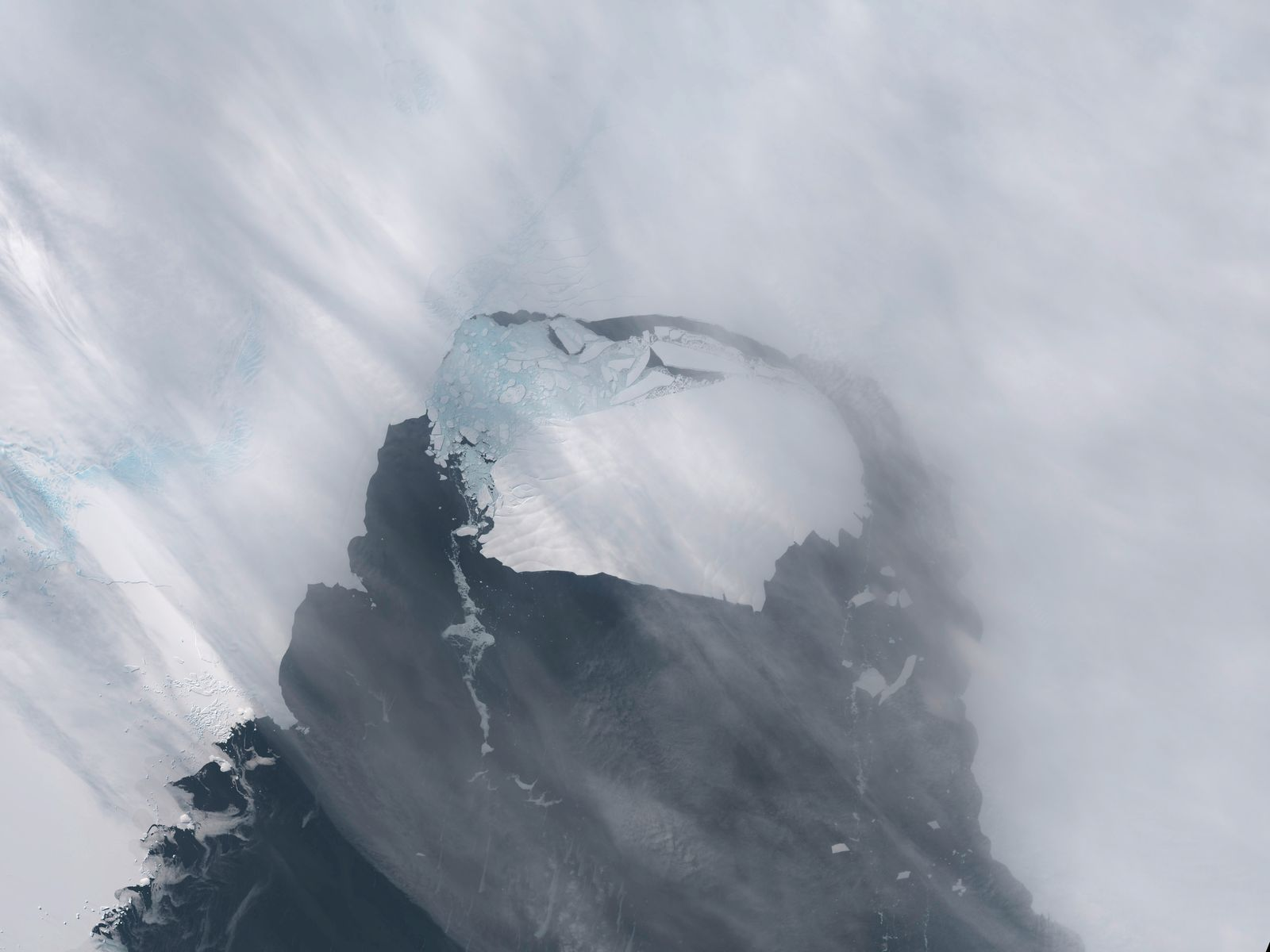 The B-31 Iceberg is seen after separating from a rift in Antarctica's Pine Island Glacier