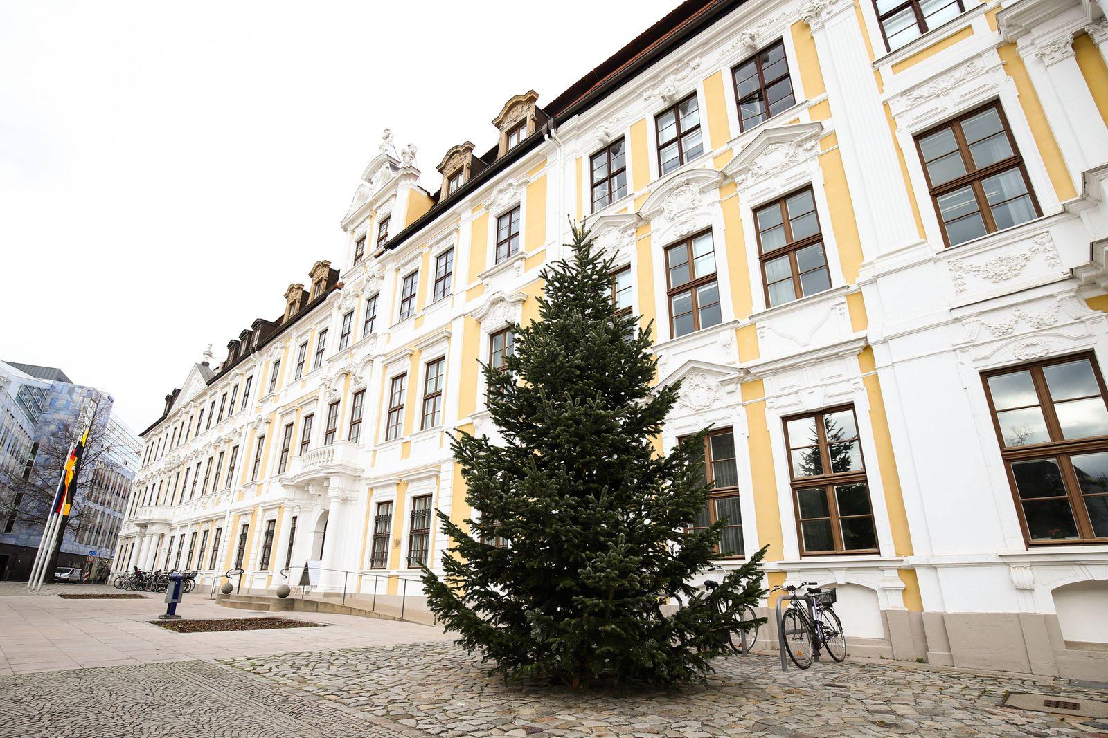 Am Mittwoch wurde der Weihnachtsbaum fuer den Landtag Sachsen Anhalt von der Firma Gatenda Garten und Landschaftsbau auf