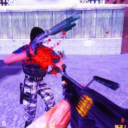"""Szene aus Computerspiel Counterstrike (unzensierte US-Version): Schwerpunkt auf dem """"aktiven Handeln des Spielers"""""""