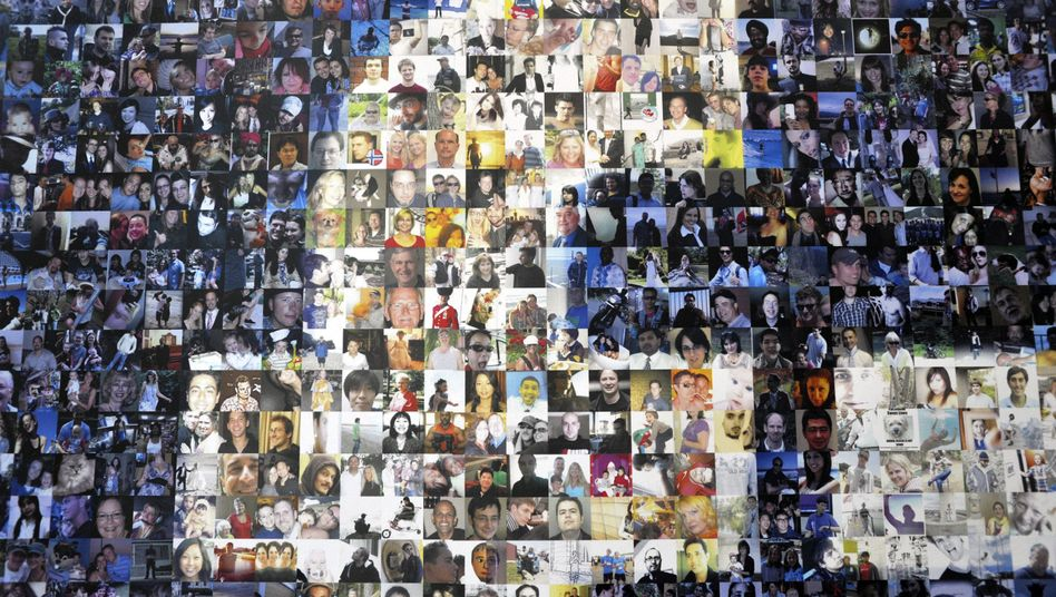 Collage aus Profilbildern in einem Facebook-Datenzentrum in den USA