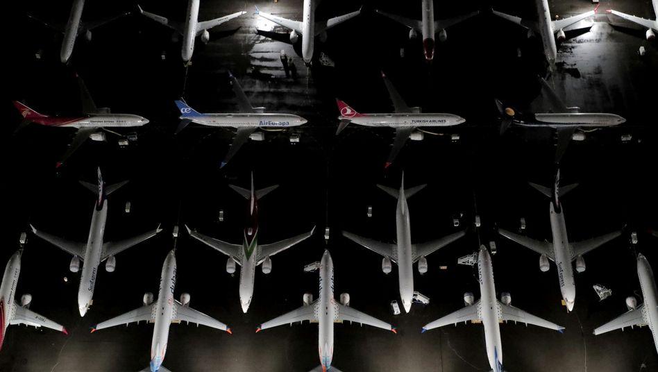 Boeing-737-Max-Maschinen auf einem Flugplatz in Seattle, Washington