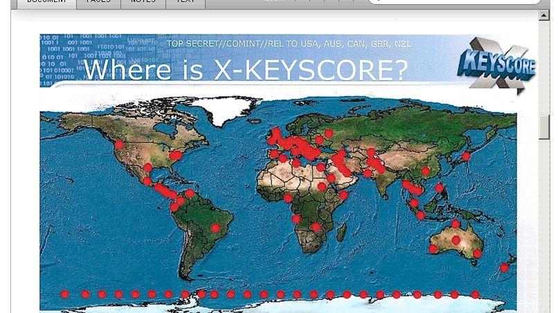 XKeyscore-Standorte auf einer Weltkarte: 700 Server an 150 Standorten