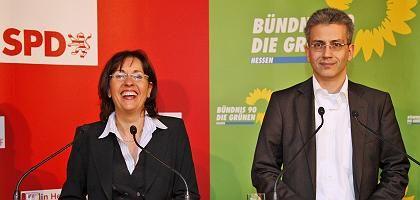 Andrea Ypsilanti (mit Grünen-Fraktionschef Wazir): Rivale gibt auf