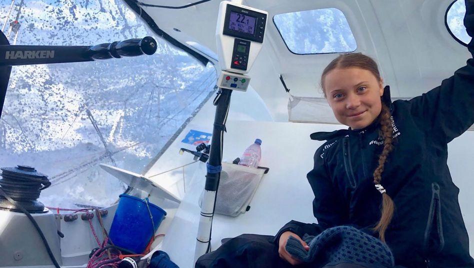 "Greta Thunberg an Bord der ""Malizia II"" auf dem Atlantik"