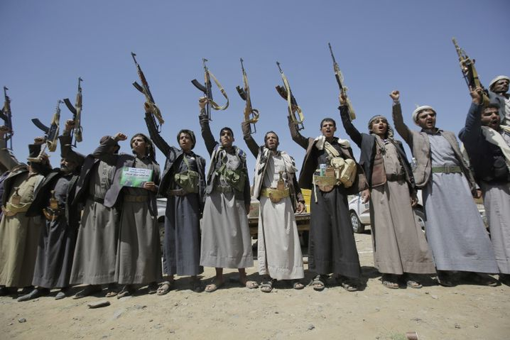 Houthi fighters in Yemen. The Houthis tried to take credit for the attack on oil infrastructure in Saudi Arabia, but nobody really believes them.