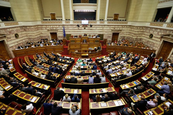 Greeces Prime Minister Alexis Tsipras delivers a speech in parliament: The euro crisis sparked his meteoric political rise in Athens.