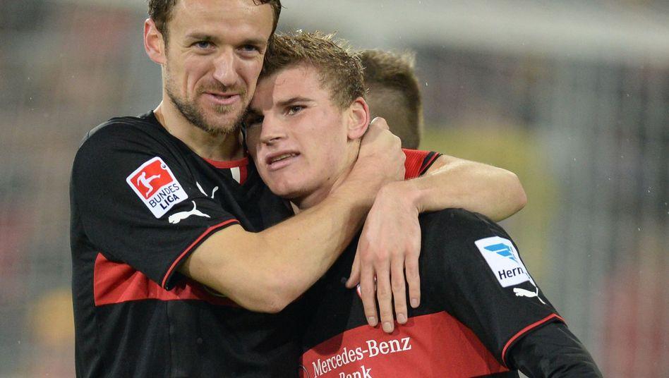 Stuttgarts Gentner und Werner (r.): Freude über zwei Treffer
