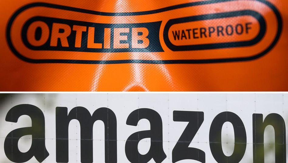 Logos der Firmen Ortlieb und Amazon