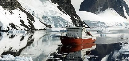 The HMS Endurance in the Antarctic.