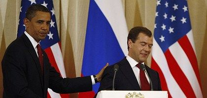 Obama is taking pains not to overshadow Medvedev during his Moscow visit.
