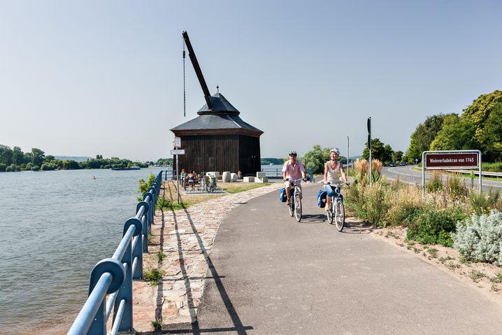 """Nicht ganz neu, aber laut Hessen Tourismus """"ein echter Geheimtipp"""": dieQuer-Rhein-RadRouteim Rheingau, bereits 2016 eröffnet. Hier wird der Rhein als Verbindung verstanden, nicht als Grenze zu Rheinhessen"""