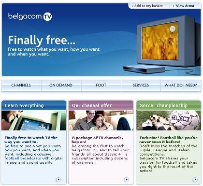 Belgacom-Werbung für IPTV: Über 60 Kanäle und zusätzliche Fußball-Abos