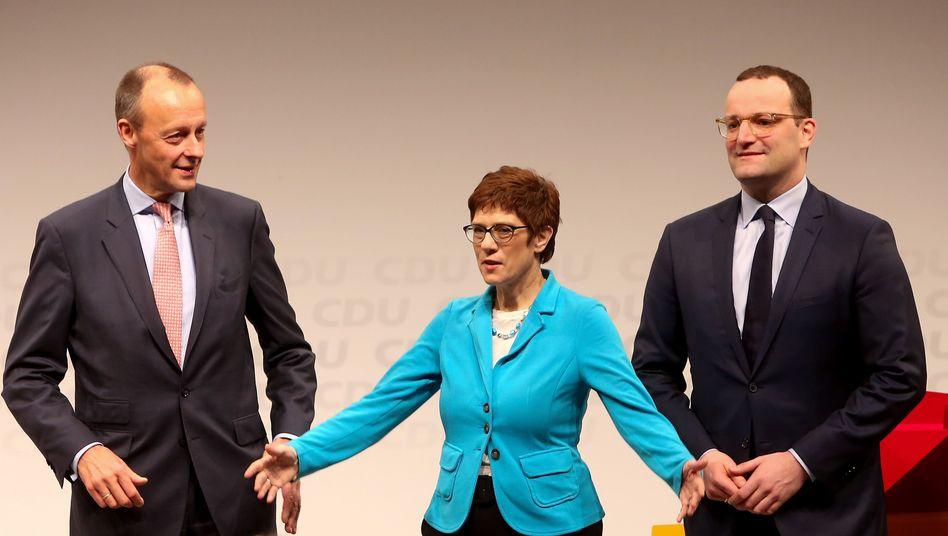 CDU-Politiker Merz, Kramp-Karrenbauer, Spahn im November 2018 in Berlin
