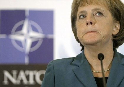 German Chancellor Angela Merkel at the NATO summit Friday