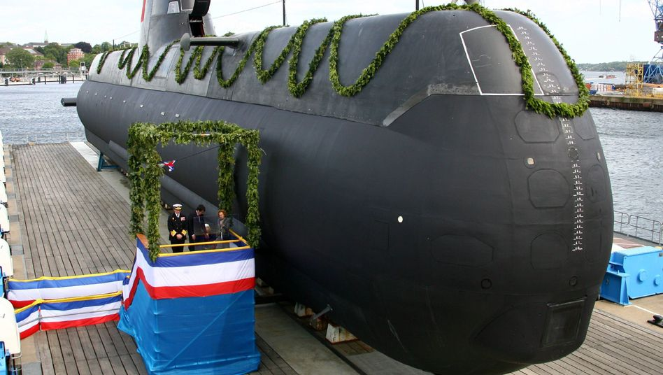 A submarine built for Portugal being christened in 2009 at the HDW shipyard in Kiel.