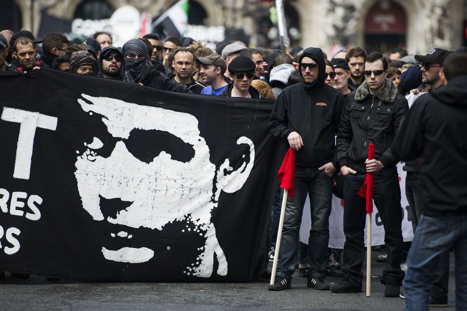 Frankreich Demonstration Skindhead