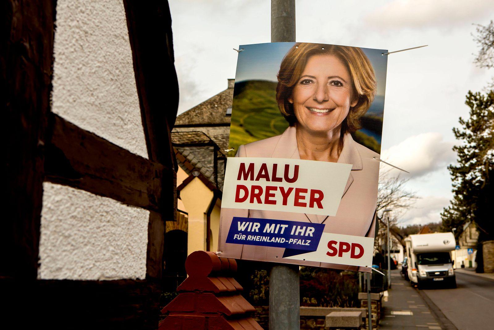 Wahlplakat zur Landtagswahl 2021 in Erpel ( Kreis Neuwied - Rheinland-Pfalz ). Am 14. März 2021 wird in Rheinland-Pfalz