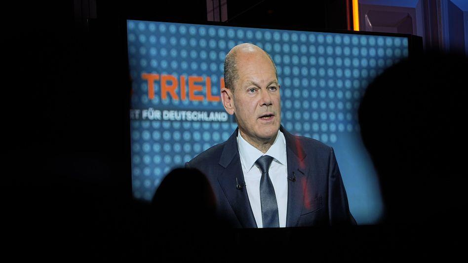 SPD-Kanzlerkandidat Olaf Scholz beim TV-Triell