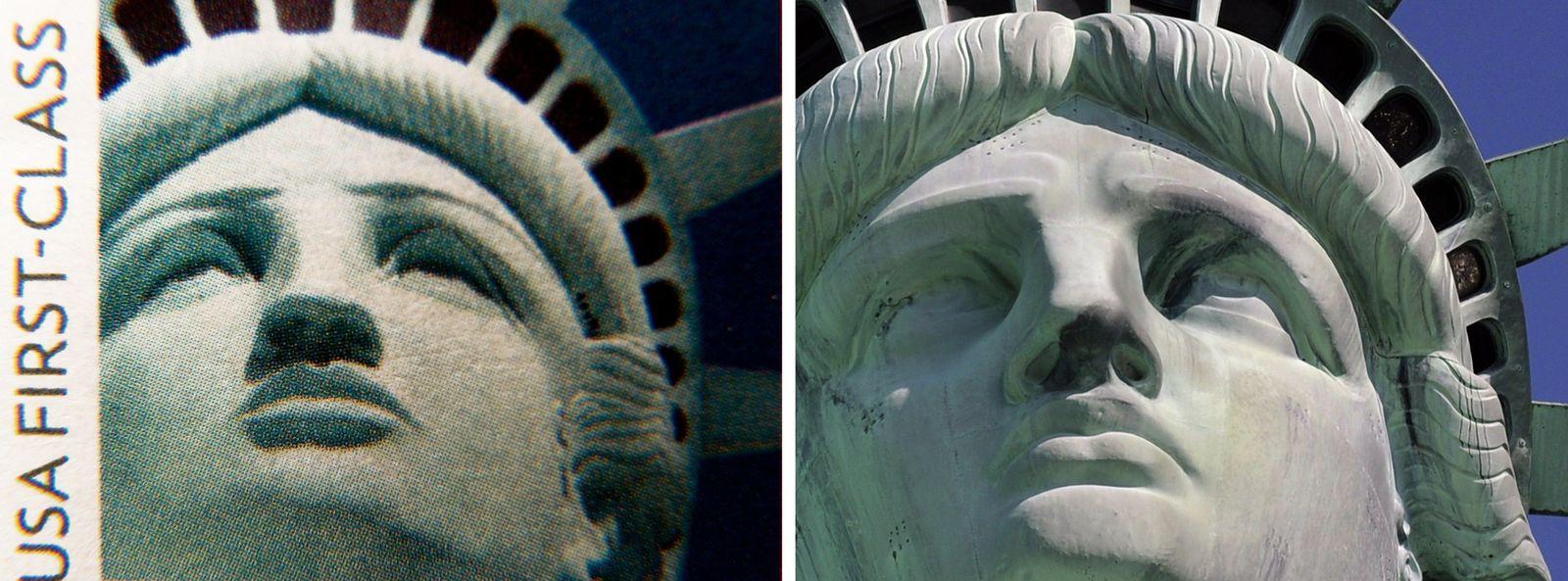 USA/ Briefmarken/ Freiheitsstatue/ Fehler