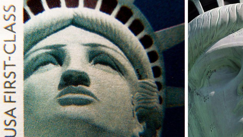 Falsche (l.) und echte Freiheitsstatue: Schärfere Konturen, andere Frisur