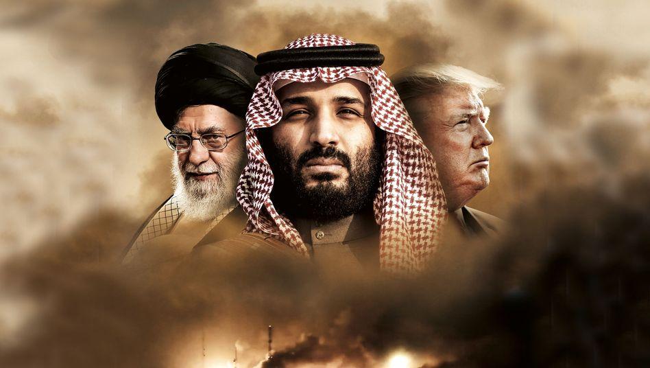 Revolutionsführer Khamenei, Mohammed bin Salman und Donald Trump