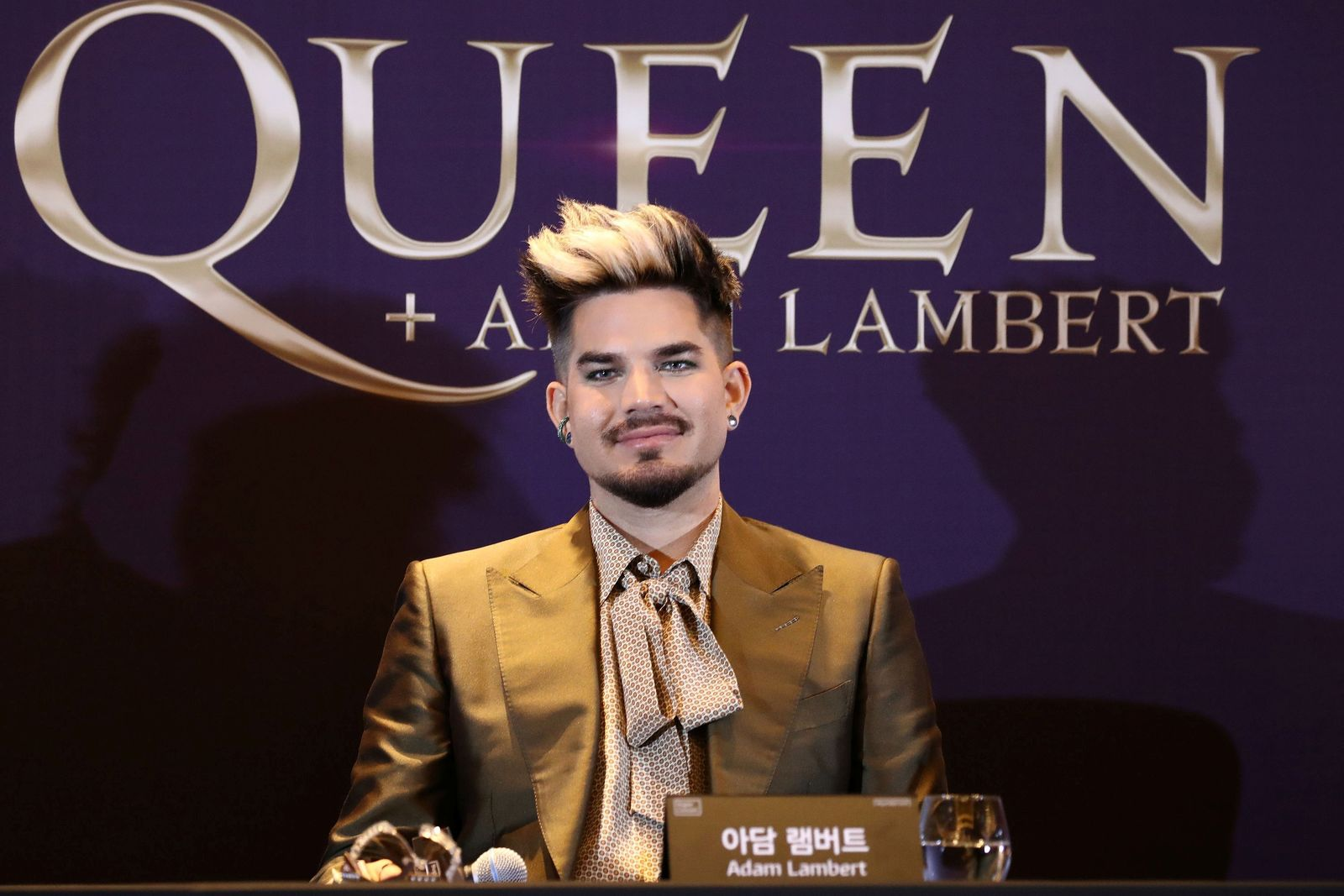 Adam Lambert of Queen attends a news conference ahead of the Rhapsody Tour at Conrad Hotel in Seoul, South Korea