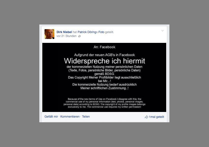 NUR ALS ZITAT Screenshot Facebook/ Niebel