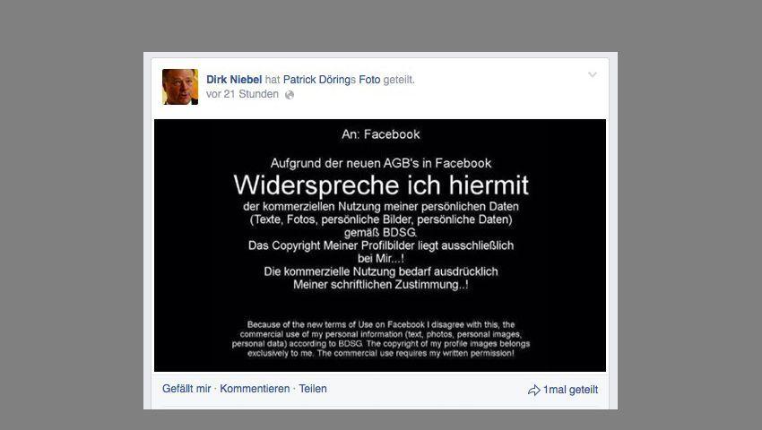 Widerspruch-Bild in Dirk Niebels Chronik: Weitergeleitet von Patrick Dörings Facebook-Seite