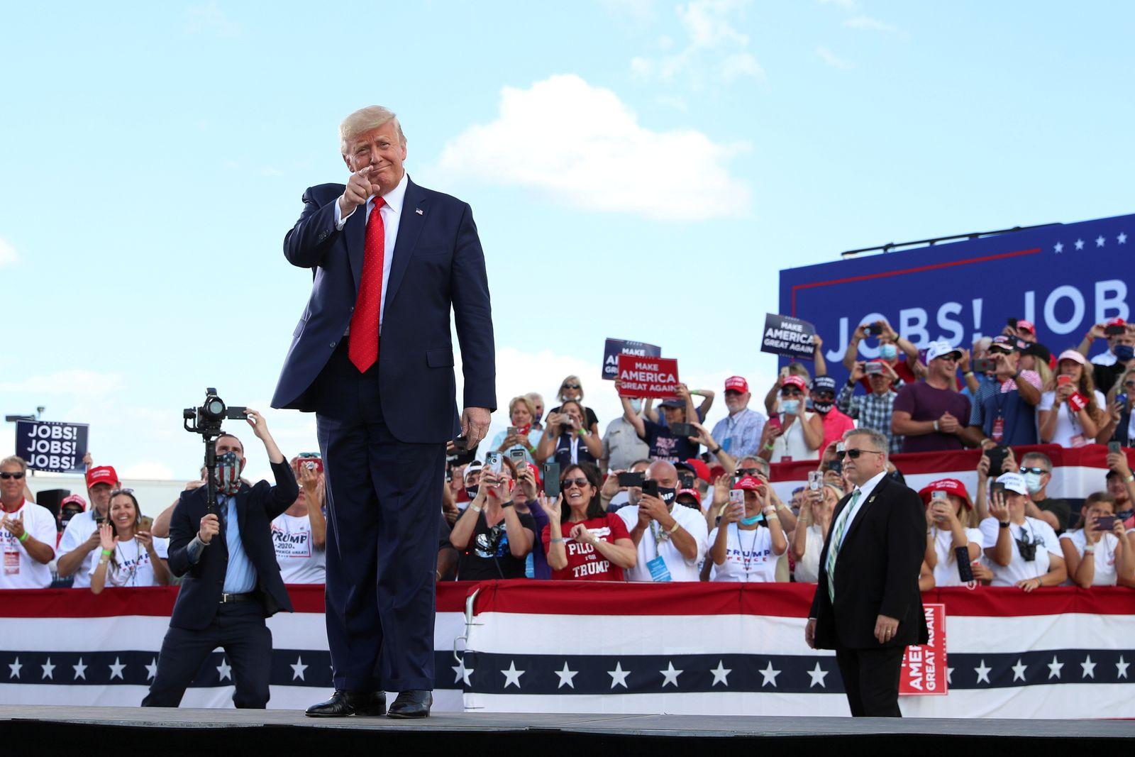 U.S. President Donald Trump delivers remarks at Basler Flight Service in Oshkosh, Wisconsin