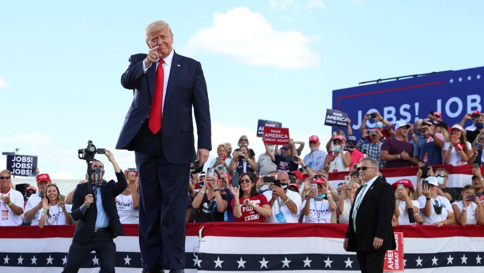 """US-Präsident Donald Trump bei seinem Auftritt in Oshkosh, Wisconsin: """"Der einzige Weg, wie wir diese Wahl verlieren werden, ist, wenn die Wahl manipuliert ist"""""""