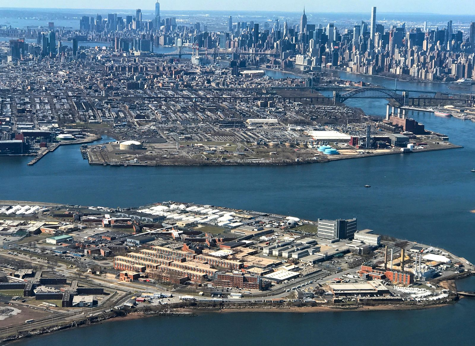 FILE PHOTO: The Rikers Island Prison complex is seen from an airplane in the Queens borough of New York City, New York