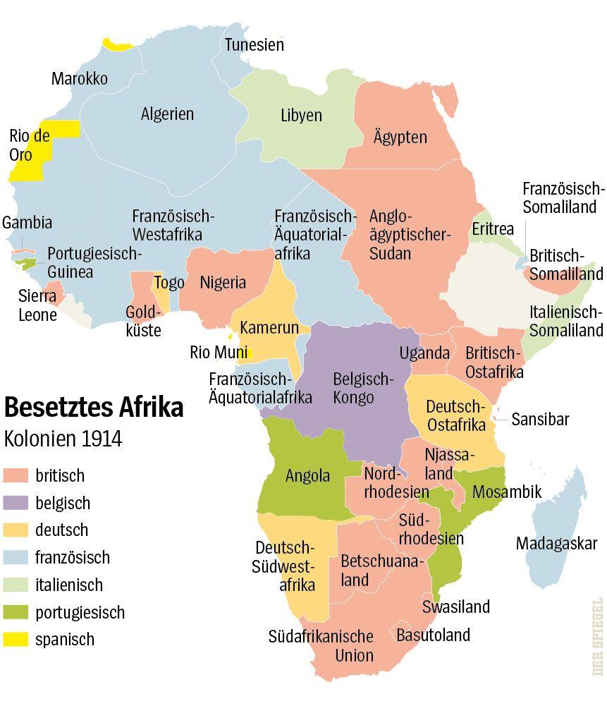 Karte - Besetztes Afrika - Kolonien 1914
